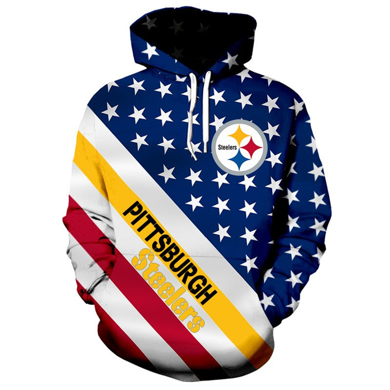 hot sales 0550a 9422f **(OFFICIALLY-LICENSED-N.F.L.PITTSBURGH-STEELERS/3D-GRAPHIC-PRINTED-PATRIOTIC-STARS  & STRIPES-PULLOVER-HOODIES/NICE-DETAILED-PREMIUM-CUSTOM-3D-GRAPHIC...
