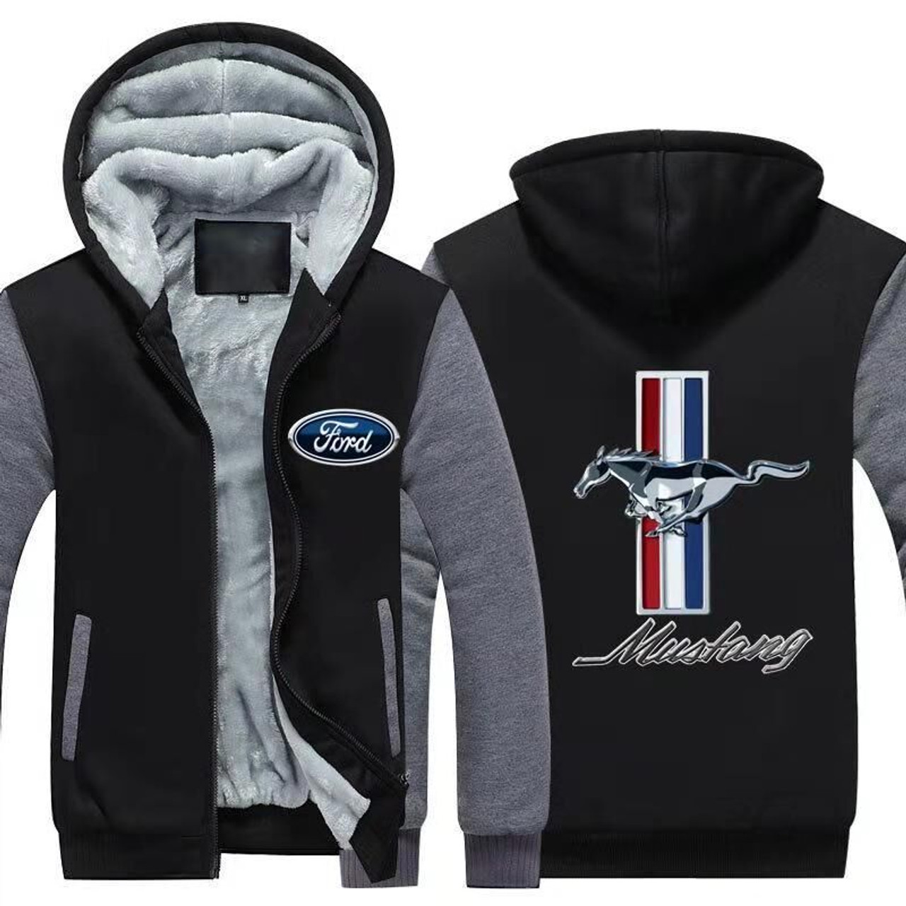 **(NEW-OFFICIALLY-LICENSED-FORD-MUSTANG,NEW-TWO-TONE-STYLE/TRENDY-MIDNIGHT-BLACK & GREY,WARM-FLEECE-LINED-JACKETS/3-D-CUSTOM-CLASSIC-BLUE-FORD-LOGO & MUSTANG,DETAILED-GRAPHIC-PRINTED-DOUBLE-SIDED-FORD-LOGOS/ZIP-UP-FRONT-PREMIUM-FLEECE-JACKETS)**