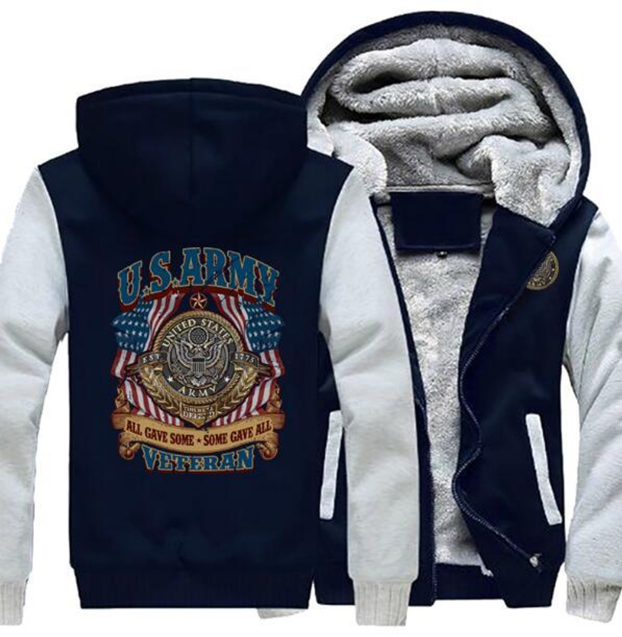 **(NEW-OFFICIALLY-LICENSED-U.S. ARMY-VETERAN-HOODIES,ALL-GAVE-SOME & SOME-GAVE-ALL/WITH-OFFICIAL-CLASSIC-ARMY-SHIELD & PATRIOT-FLAGS/NICE-CUSTOM-3D-GRAPHIC-PRINTED/DOUBLE-SIDED-HEAVY-FLEECE-ZIPPER-UP-HOODIES)**
