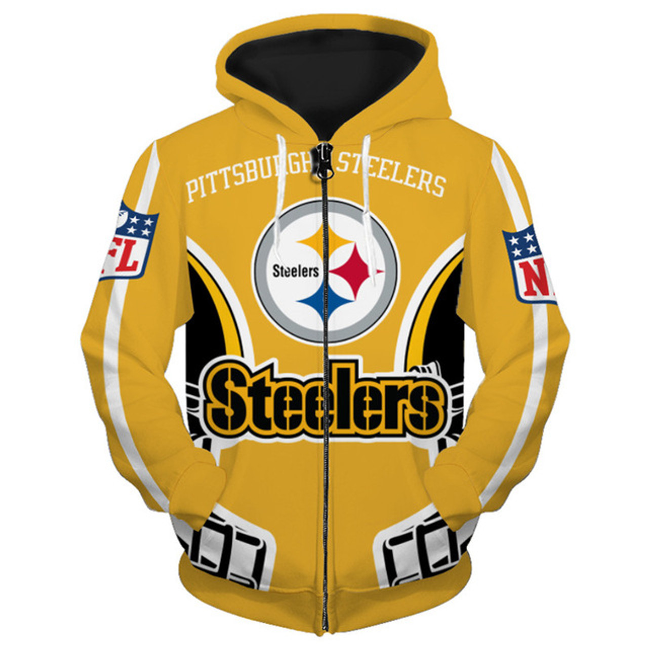 524659aa **(NEW-OFFICIALLY-LICENSED-N.F.L. PITTSBURGH-STEELERS-NATION/OFFICIAL-TEAM- ZIPPERED-HOODIES/NICE-CUSTOM-DETAILED-3D-GRAPHIC- ...