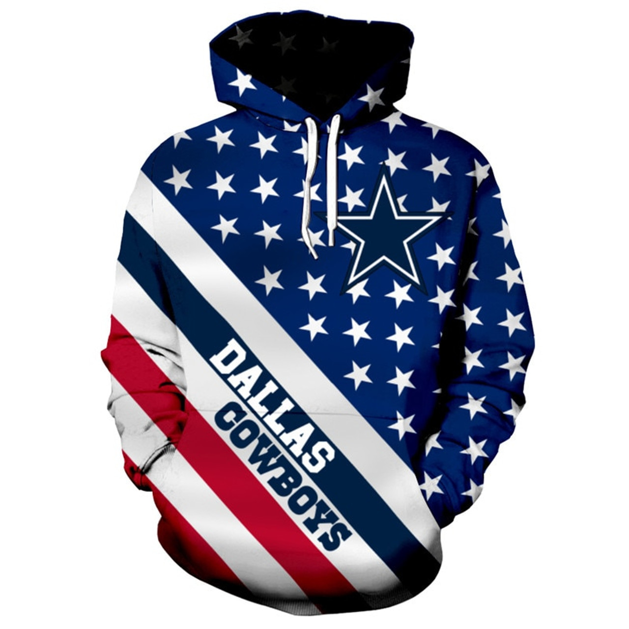 huge discount 4ed8b 2088e **(OFFICIALLY-LICENSED-N.F.L.DALLAS-COWBOYS/3D-GRAPHIC-PRINTED-PATRIOTIC-STARS  & STRIPES-PULLOVER-HOODIES/NICE-DETAILED-PREMIUM-CUSTOM-3D-GRAPHIC-PRIN...