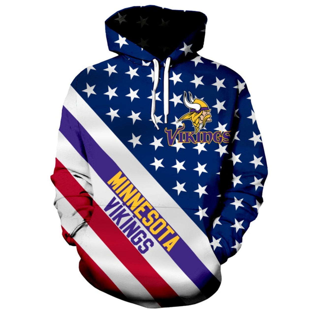 free shipping 6c2d5 a0a5a **(OFFICIALLY-LICENSED-N.F.L.MINNESOTA-VIKINGS/3D-GRAPHIC-PRINTED-PATRIOTIC-STARS  & STRIPES-PULLOVER-HOODIES/NICE-DETAILED-PREMIUM-CUSTOM-3D-GRAPHIC-P...