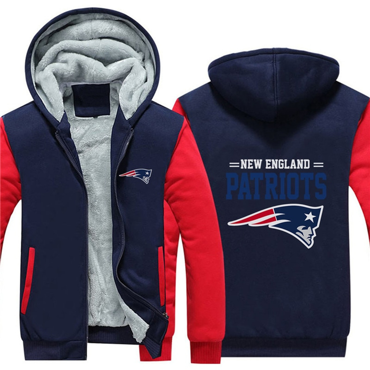 separation shoes 73889 4bd9b **(NEW-OFFICIALLY-LICENSED-N.F.L.NEW-ENGLAND-PATRIOTS/TRENDY-NEW-TWO-TONE-STYLE,FLEECE-LINED-TEAM-JACKETS/3-D-CUSTOM-DETAILED-GRAPHIC-PRINTED-DOUBLE-S...