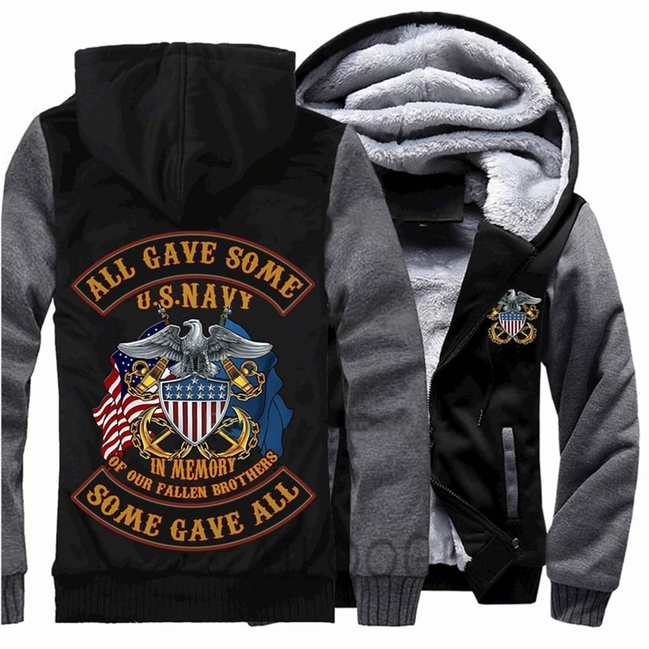 **(NEW-OFFICIALLY-LICENSED-U.S. NAVY-VETERAN/ALL-GAVE-SOME & SOME-GAVE-ALL,IN-MEMORY-OF-OUR-FALLEN-BROTHERS/WITH-SYMBOLIC-EAGLE & OFFICIAL-CLASSIC-NAVY-ANCHOR-SHIELD/NICE-CUSTOM-3D-GRAPHIC-PRINTED/DOUBLE-SIDED-HEAVY-FLEECE-ZIPPER-UP-HOODIES)**