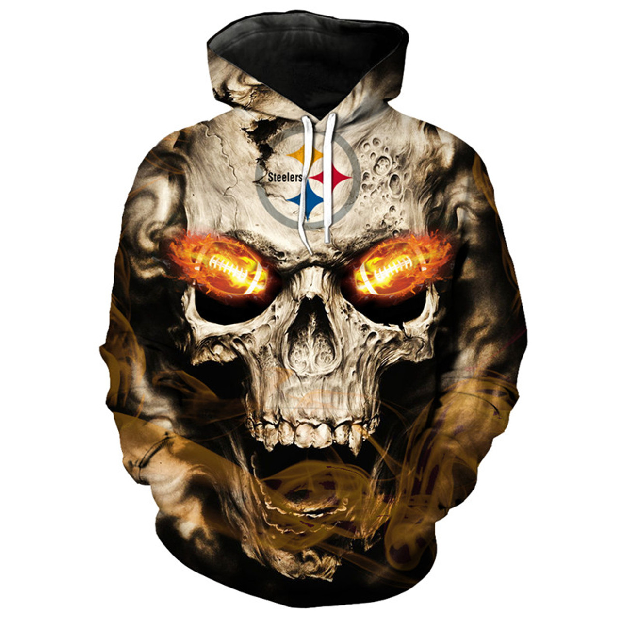 buy popular b42f2 08d7f **(OFFICIAL-N.F.L.PITTSBURGH-STEELERS-LOGO/3D-NEON-SKULL &  PITTSBURGH-STEELERS-BLAZING-FIERY-FOOTBALL-IN-SKULLS-EYES,PREMIUM-3D-GRAPHIC-PRINTED/DOUBLE...
