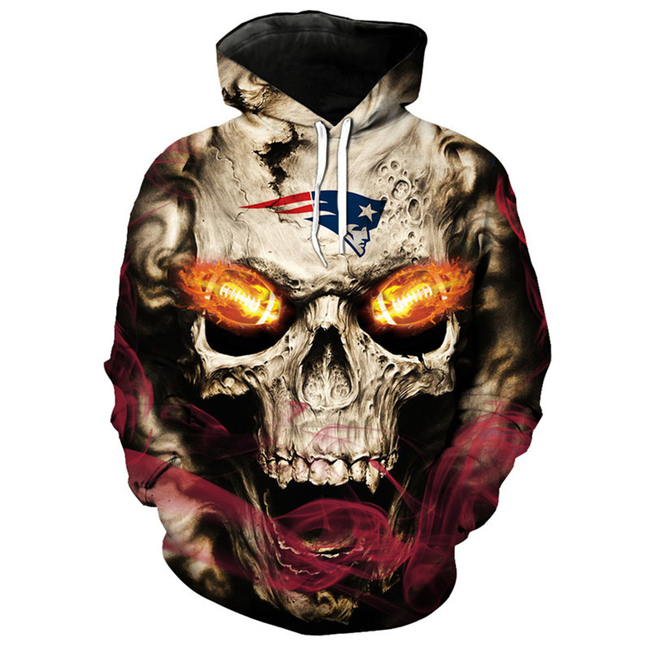 **(OFFICIAL-N.F.L.NEW-ENGLAND-PATRIOTS-LOGO/3D-NEON-SKULL & NEW-ENGLAND-PATRIOTS-FOOTBALL-FIRE-ON-EYES,PREMIUM-3D-GRAPHIC-PRINTED/DOUBLE-SIDED-WARM-PULLOVER-N.F.L.PATRIOTS-TEAM-COLORED-HOODIES)**