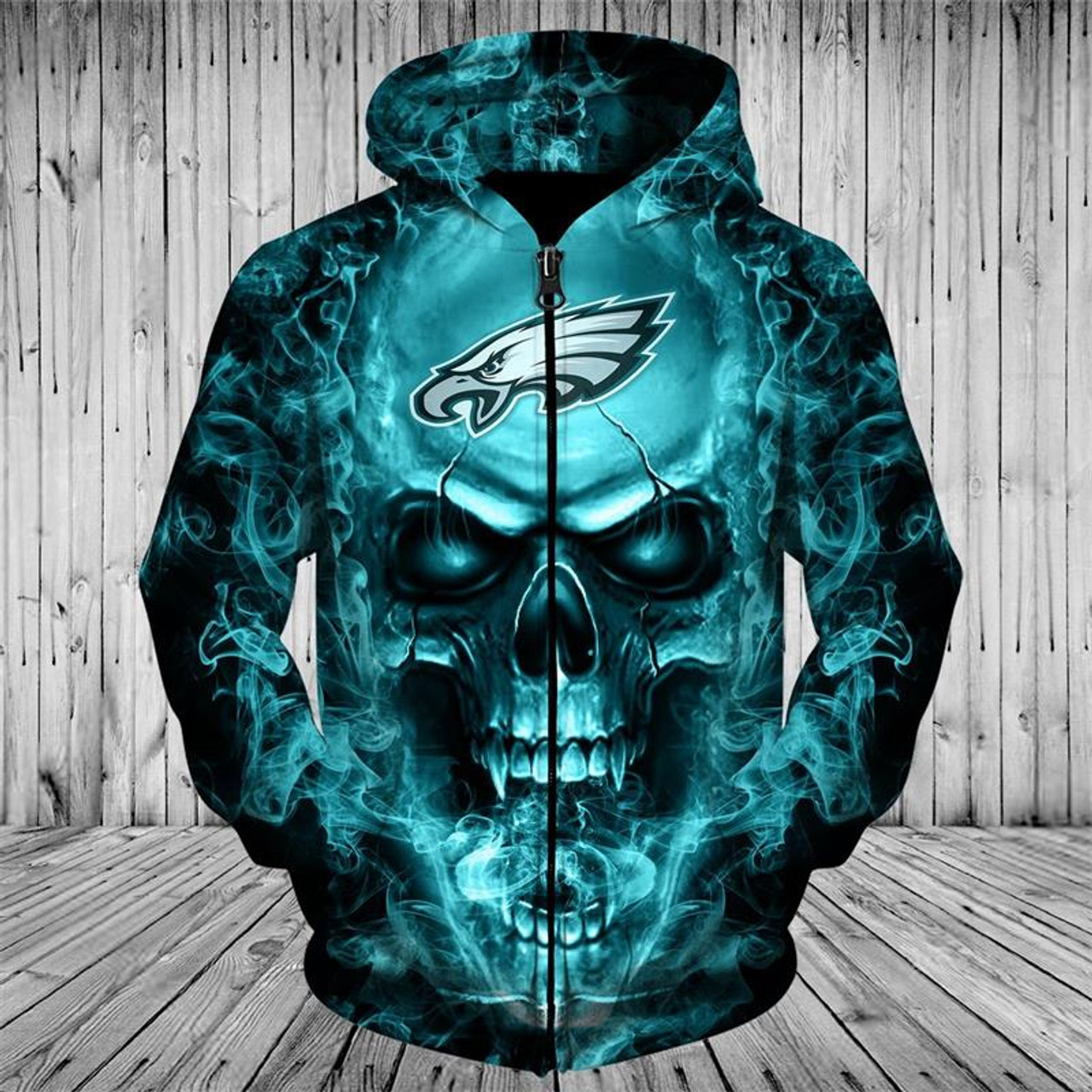 save off 9525d 65377 **(OFFICIAL-N.F.L.PHILADELPHIA-EAGLES-ZIPPERED-HOODIES/CUSTOM-3D-NEON-EAGLES-GREEN-SMOKING-SKULL,PREMIUM-3D-GRAPHIC-PRINTED/DOUBLE-SIDED-N.F.L.EAGLES-...
