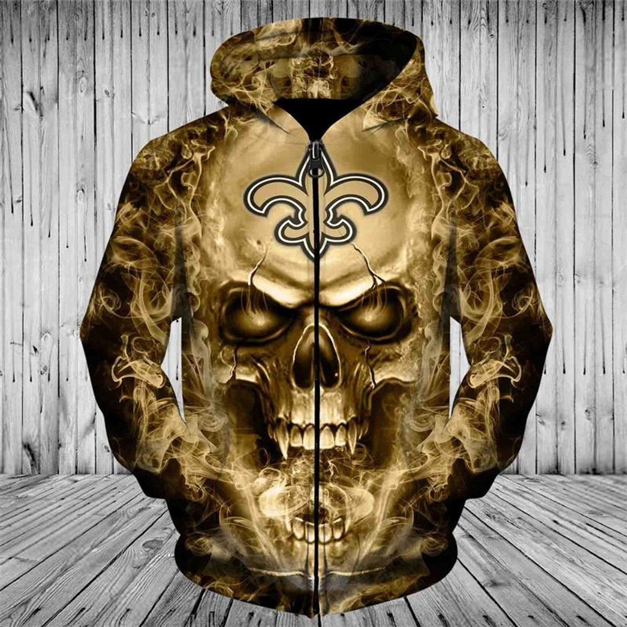 huge discount bb4d7 c4988 **(OFFICIAL-N.F.L.NEW-ORLEANS-SAINTS-ZIPPERED-HOODIES/CUSTOM-3D-NEON-GOLD-SAINTS-SMOKING-SKULL,PREMIUM-3D-GRAPHIC-PRINTED/DOUBLE-SIDED-N.F.L.SAINTS-TE...