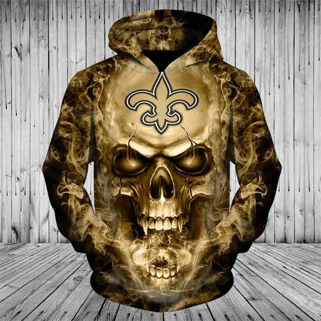 the best attitude 71b29 094f7 **(OFFICIAL-N.F.L.NEW-ORLEANS-SAINTS-PULLOVER-HOODIES/CUSTOM-3D-NEON-GOLD-SAINTS-SMOKING-HOT-SKULL,PREMIUM-3D-GRAPHIC-PRINTED/DOUBLE-SIDED-N.F.L.SAINT...