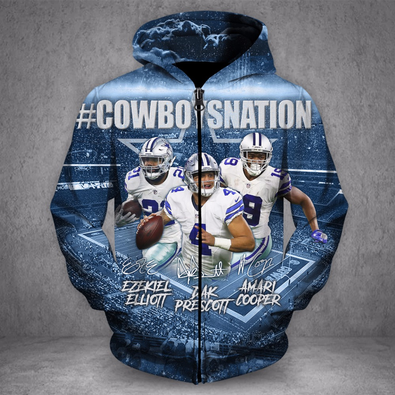 **(OFFICIALLY-LICENSED-N.F.L.DALLAS-COWBOYS-NATION & DAK-PRESCOTT-NO.4-STYLISH-ZIPPER-UP-HOODIES/NICE-CUSTOM-3D-GRAPHIC-PRINTED-DOUBLE-SIDED-ALL-OVER-GRAPHICS,IN-COWBOYS-TEAM-COLORS/WARM-PREMIUM-OFFICIAL-N.F.L.COWBOYS-TEAM-ZIPPER-UP-HOODIES)**
