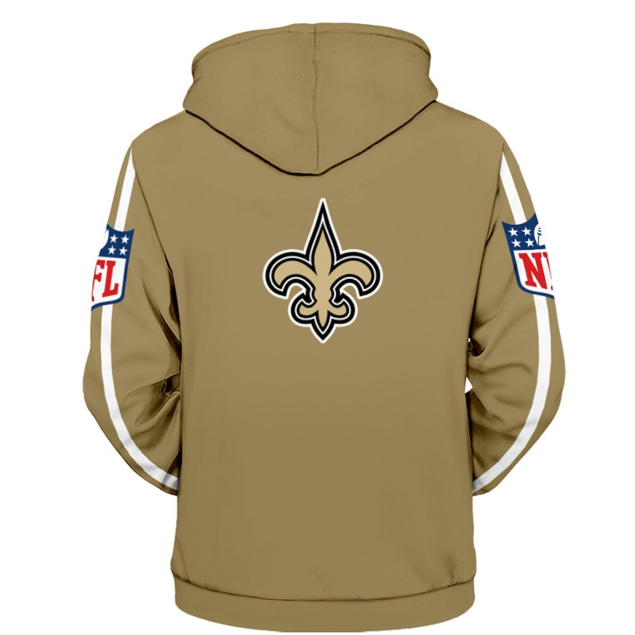 Officially Licensed N F L New Orleans Saints Zipper Up Hoodies All Over 3d Graphic Printed In Saints Logos