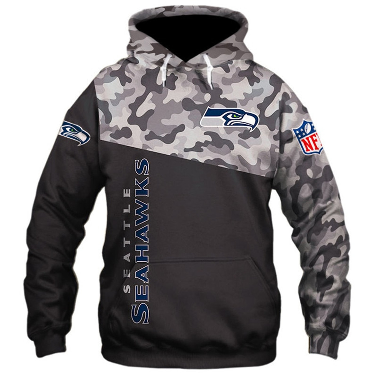 **(OFFICIAL N.F.L.SEATTLE SEAHAWKS CAMO.DESIGN PULLOVER HOODIES3D CUSTOM SEAHAWKS LOGOS & OFFICIAL SEAHAWKS TEAM COLORSNICE 3D DETAILED GRAPHIC PRIN