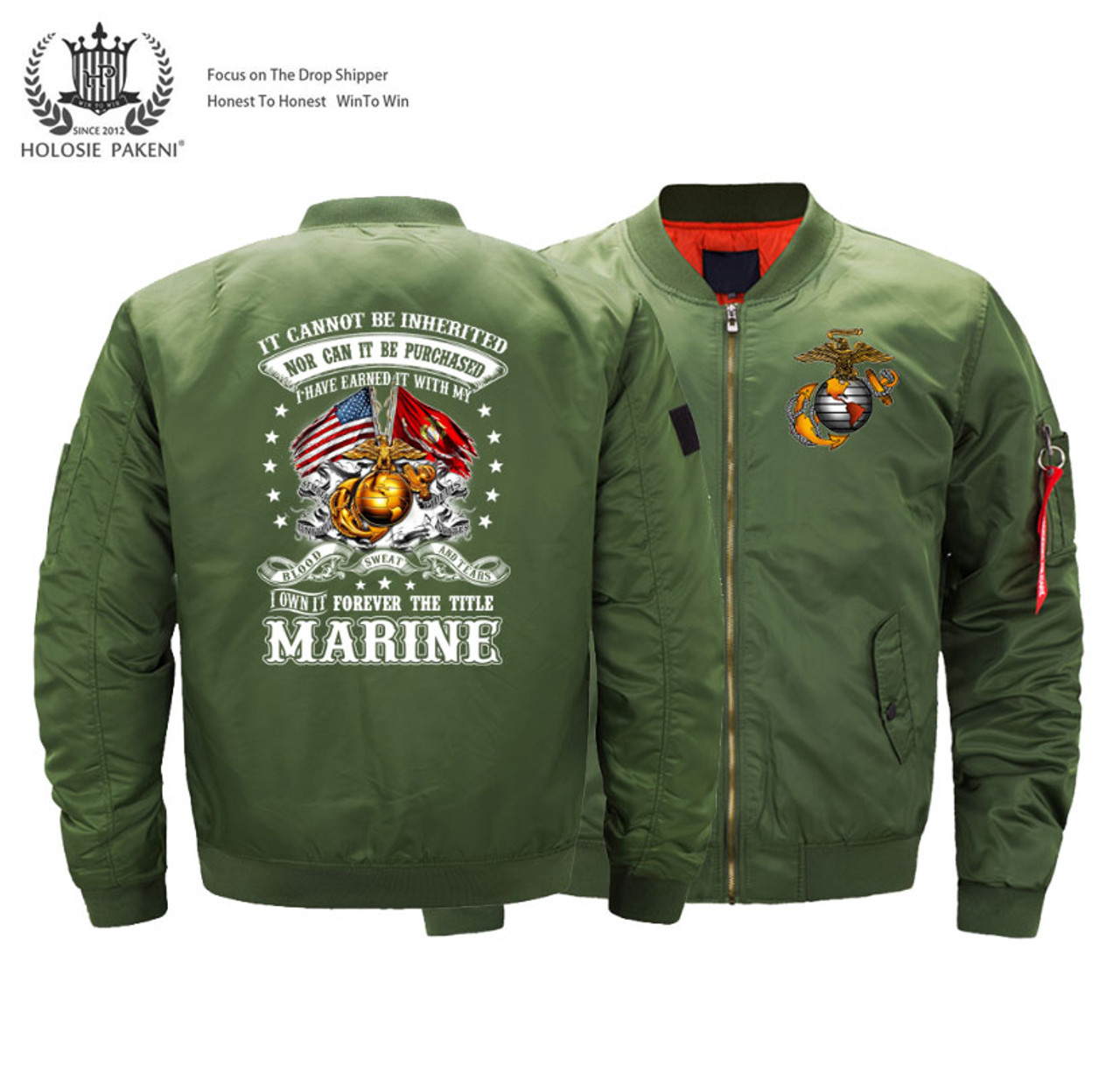 **(OFFICIALLY-LICENSED-U.S. MARINES,MENS-HEAVY-WEIGHT-THICK-FLIGHT/BOMBER-JACKETS,WITH DUAL-FLAGS,CLASSIC-OFFICIAL-MARINE-ANCHOR/GLOBE-LOGOS & SEMPER-FIDELIS,NICE-3D-GRAPHIC-PRINTED-DOUBLE-SIDED-PRINTED/IN-CLASSIC-OLIVE-GREEN-BOMBER-FLIGHT-JACKETS)**