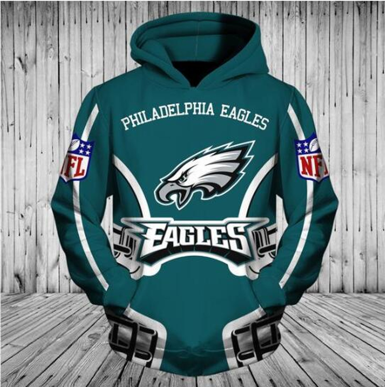 **(OFFICIALLY-LICENSED-N.F.L.PHILADELPHIA-EAGLES-TRENDY-PULLOVER-TEAM-HOODIES/NICE-CUSTOM-3D-GRAPHIC-PRINTED-DOUBLE-SIDED-ALL-OVER-OFFICIAL-EAGLES-LOGOS,IN-EAGLES-TEAM-COLORS/WARM-PREMIUM-OFFICIAL-N.F.L.EAGLES-TEAM-PULLOVER-POCKET-HOODIES)**