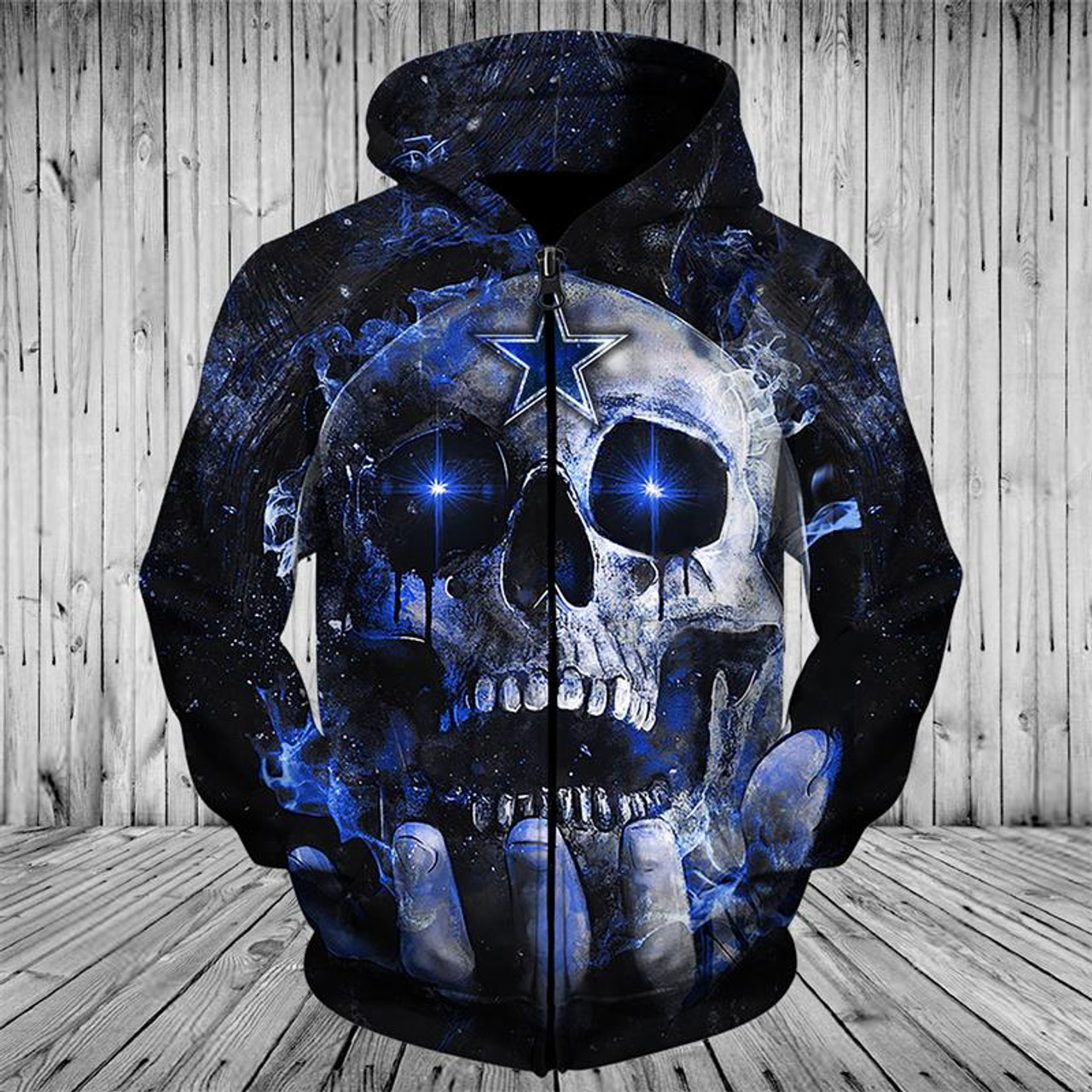 newest 5554a 70fab **(OFFICIAL-N.F.L.DALLAS-COWBOYS-TEAM-ZIPPERED-NEON-SKULL-HOODIES/CUSTOM-3D-NEON-GRAPHIC-PRINTED-DOUBLE-SIDED-ALL-OVER-OFFICIAL-COWBOYS-LOGOS,IN-COWBO...