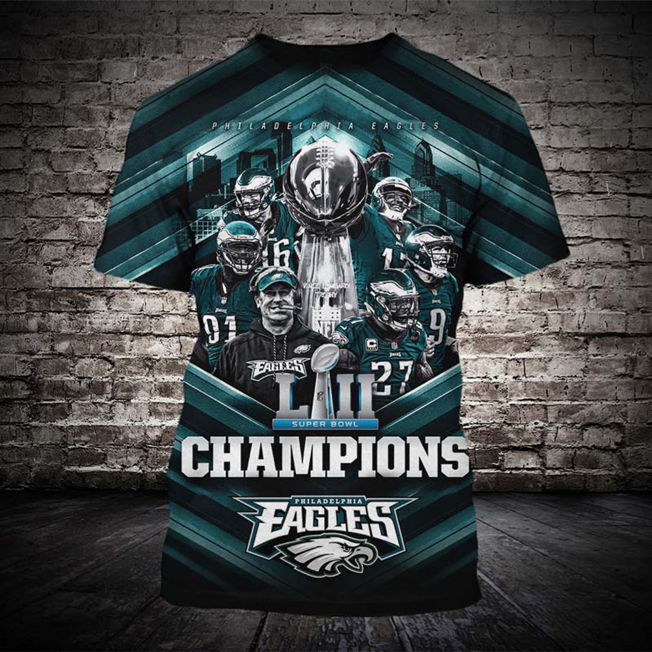 low priced b2662 988a9 **(OFFICIALLY-LICENSED-N.F.L.PHILADELPHIA-EAGLES-TEES/SUPER-BOWL-LII-CHAMPIONS  & OFFICIAL-TEAM-LOGOS/NICE-CUSTOM-3D-GRAPHIC-PRINTED-ALL-OVER-DESIGN,TR...