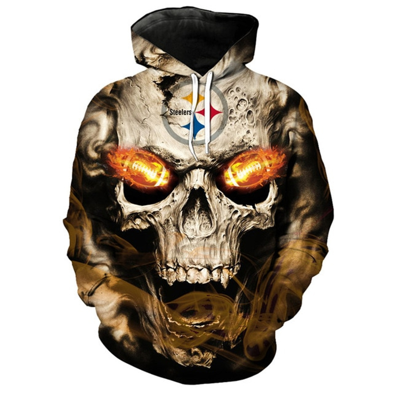 new arrival 01ecd f8a31 **(OFFICIALLY-LICENSED-N.F.L.PITTSBURGH-STEELERS,TRENDY-PULLOVER-HOODIES &  NEON-GLOWING-FIERY-STEELERS-FOOTBALL-EYES,NICE-CUSTOM-3D-GRAPHIC-PRINTED-AL...