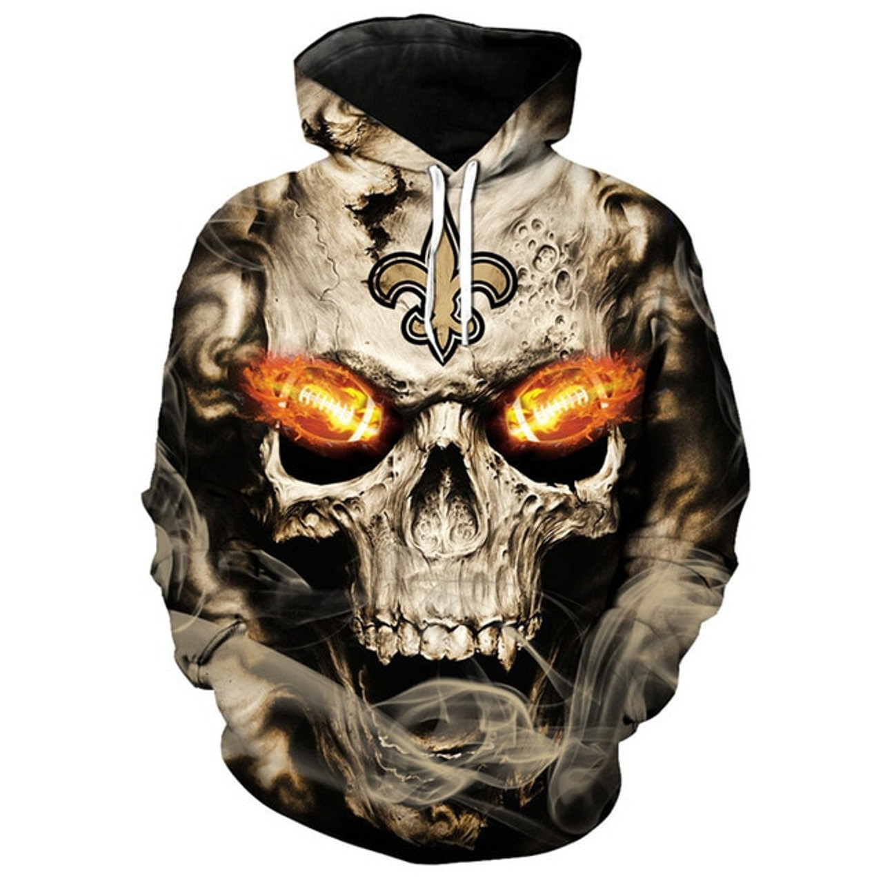 pretty nice 17574 9581c **(OFFICIALLY-LICENSED-N.F.L.NEW-ORLEANS-SAINTS,TRENDY-PULLOVER-HOODIES &  NEON-GLOWING-FIERY-SAINTS-FOOTBALL-EYES,NICE-CUSTOM-3D-GRAPHIC-PRINTED-ALL-O...