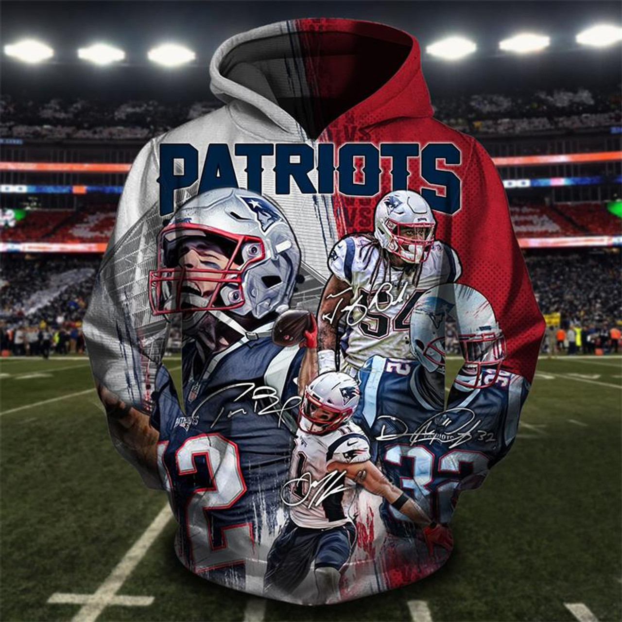 9f31f0b33 **(OFFICIAL-N.F.L.NEW-ENGLAND-PATRIOTS-ALL-STAR-WINNING-TEAM-FRONT-PULLOVER- HOODIES/CUSTOM-3D-PATRIOTS-TEAM-COLORS-GROUP-DESIGN ...