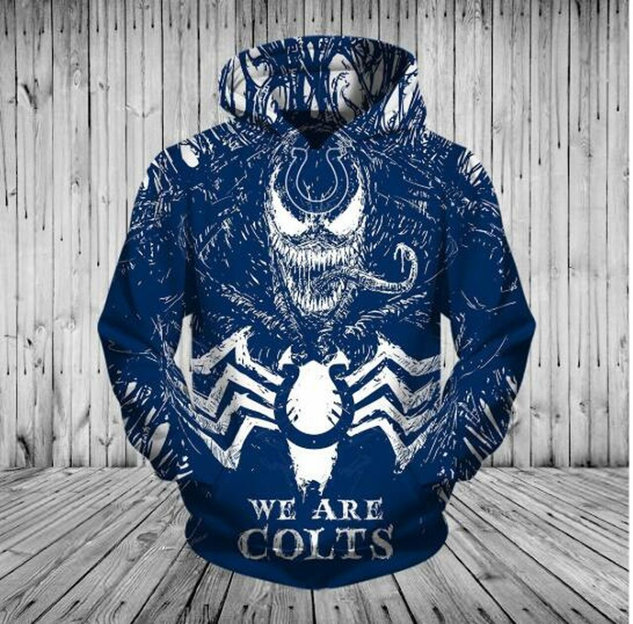 **(OFFICIALLY-LICENSED-N.F.L.INDIANAPOLIS-COLTS,CLASSIC-VENOM-HORROR-MOVIE-CHARACTER & WE-ARE-COLTS/NICE-DETAILED-PREMIUM-CUSTOM-3D-GRAPHIC-PRINTED/ALL-OVER-PRINTED-DESIGN,PREMIUM-WARM-N.F.L.INDIANAPOLIS-COLTS-LOGO & TEAM-COLOR-PULLOVER-HOODIES)**