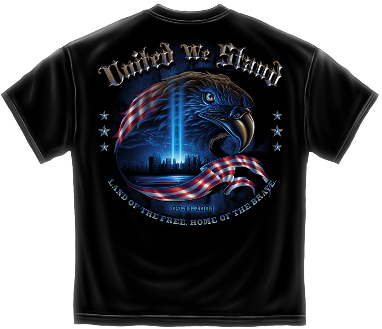 """**(ALL-NEW-PATRIOT """"UNITED-WE-STAND-COMMERATIVE-OF 9-11-2001"""", TWIN-TOWER-TEES,NICE-CUSTOM-DETAILED-GRAPHIC-PRINTED/PREMIUM-DOUBLE-SIDED-GRAPHIC-TEES:)**"""