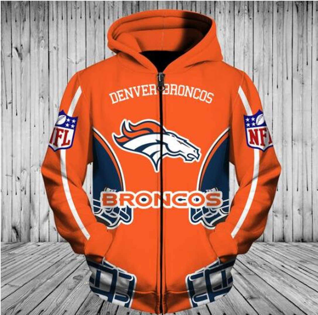 official photos ad601 7504d **(OFFICIALLY-LICENSED-N.F.L.DENVER-BRONCOS-TEAM-ZIPPERED-HOODIES/NICE-CUSTOM-3D-GRAPHIC-PRINTED-DOUBLE-SIDED-ALL-OVER-OFFICIAL-BRONCOS-LOGOS,IN-BRONC...