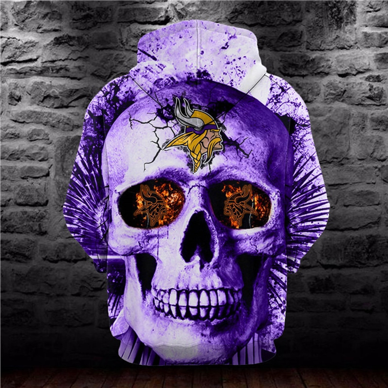 **(OFFICIALLY-LICENSED-N.F.L.MINNESOTA-VIKINGS-HOODIES/3D-PURPLE-NEON-SKULL & CUSTOM-3D-GRAPHIC-PRINTED-OFFICIAL-VIKINGS-SKULL-LOGOS,NICE-DOUBLE-SIDED-GRAPHIC-PRINT-ALL-OVER-DESIGN/VERY-UNIQUE-PREMIUM-PULLOVER-VIKINGS-TEAM-COLOR-HOODIES)**