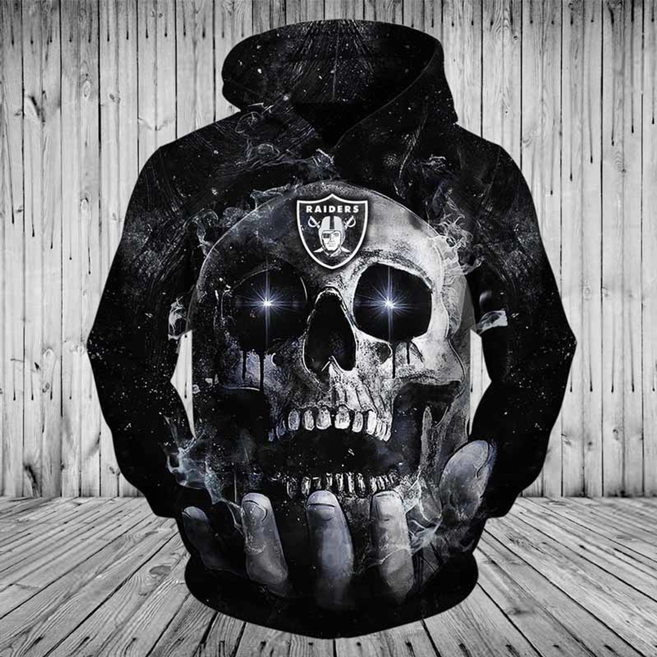 Top OFFICIAL N.F.L.NEW OAKLAND RAIDERS TEAM PULLOVER NEON SKULL HOODIES  free shipping
