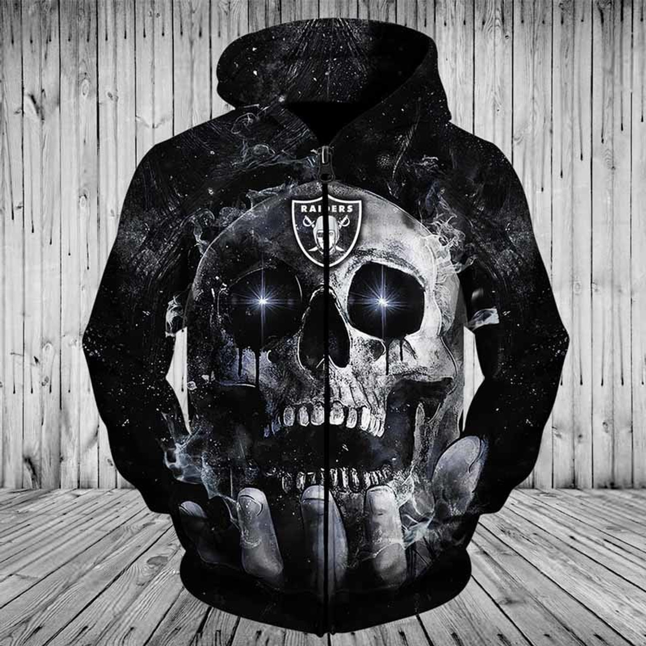 **(OFFICIAL-N.F.L.NEW-OAKLAND-RAIDERS-TEAM-ZIPPERED-NEON-SKULL-HOODIES/CUSTOM-3D-NEON-GRAPHIC-PRINTED-DOUBLE-SIDED-ALL-OVER-OFFICIAL-RAIDERS-LOGOS & IN-RAIDERS-TEAM-COLORS/WARM-PREMIUM-OFFICIAL-N.F.L.RAIDERS-TEAM-FRONT-ZIP-UP-POCKET-HOODIES)**