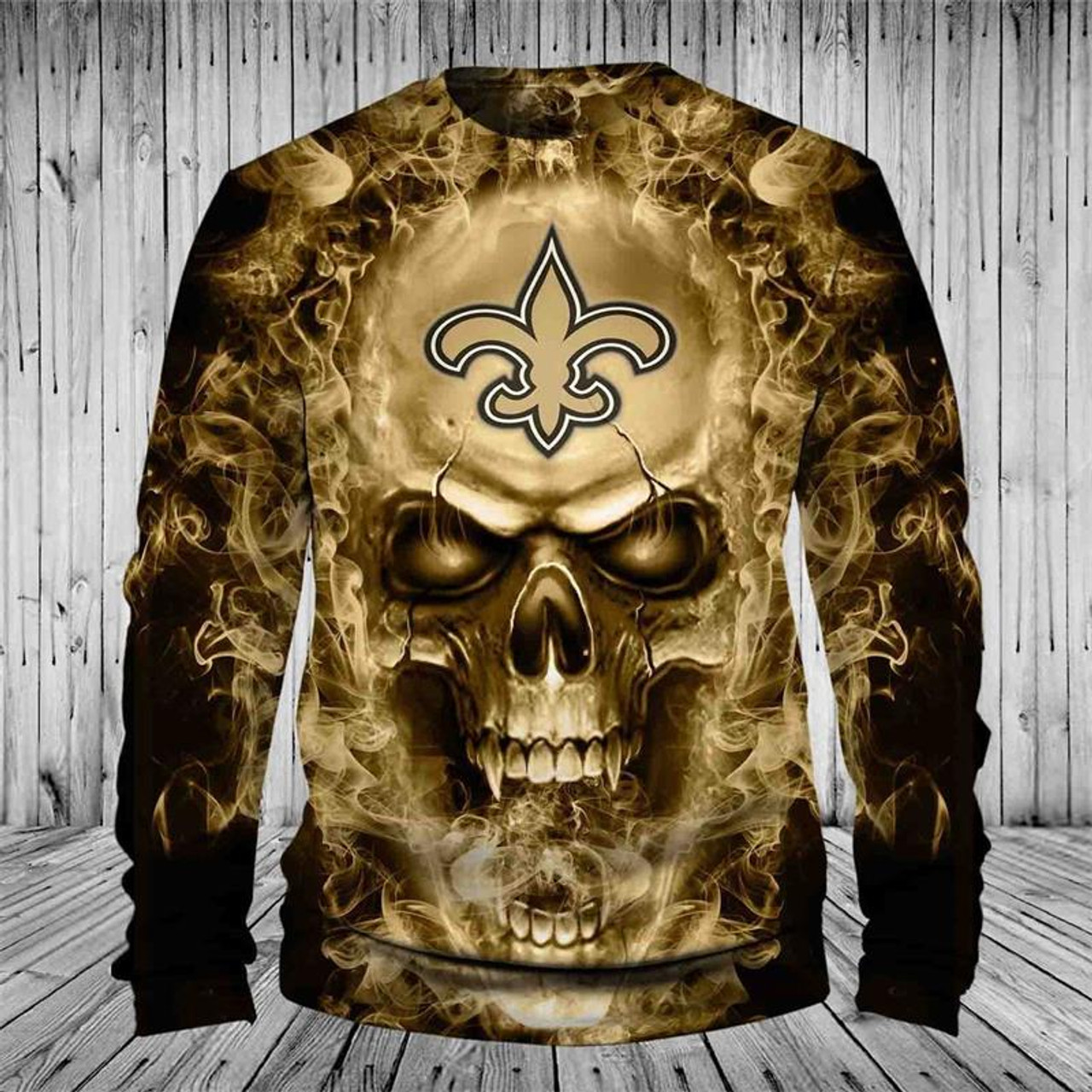 quality design 4ff32 afe1a **(OFFICIAL-N.F.L.NEW-ORLEANS-SAINTS-TEAM-LONG-SLEEVE-TEES/CUSTOM-3D-NEON-GOLD-FLAMING-SAINTS-SKULL,PREMIUM-3D-GRAPHIC-PRINTED-SAINTS-LOGOS/DOUBLE-SID...