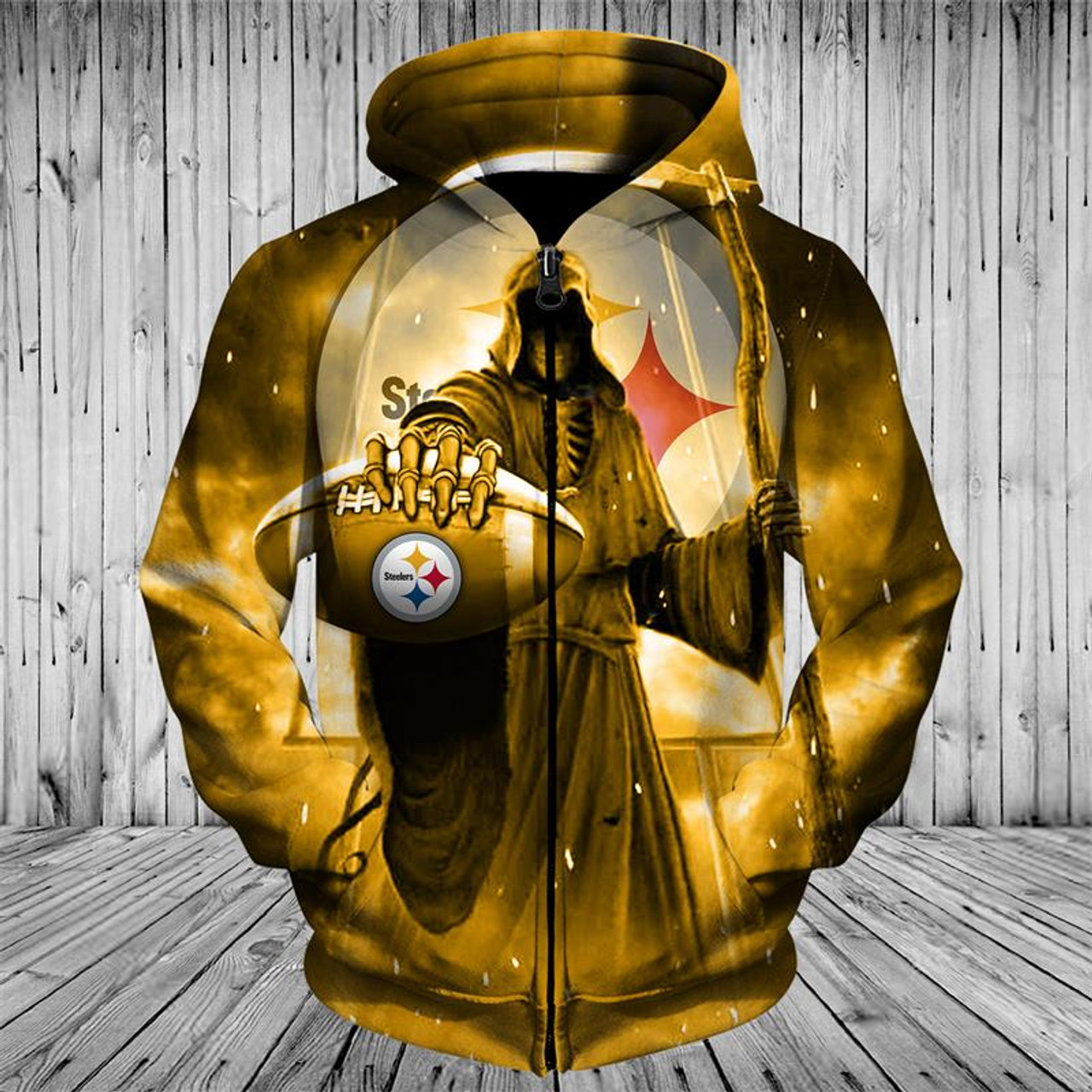 save off 0906a 4efc5 **(OFFICIAL-N.F.L.PITTSBURGH-STEELERS-TEAM-FOOTBALL-ZIP-UP-HOODIES &  GRIMM-REAPER/CARRYING-SICKEL-IN-SUDDEN-DEATH,NICE-CUSTOM-3D-GRAPHIC-PRINTED-DOUBL...