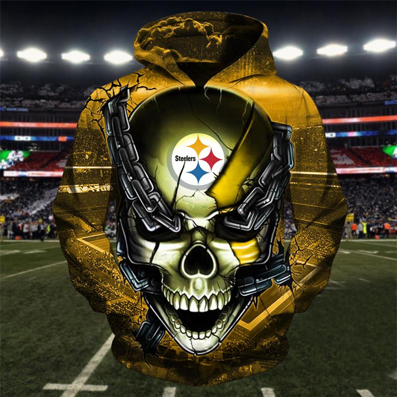new style 5a3b8 ca895 **(OFFICIAL-N.F.L.PITTSBURGH-STEELERS-TEAM-FOOTBALL-PULLOVER-HOODIES &  STEELER-TEAM-LOGO-SKULL/STEEL-CITY-CHAINS,NICE-CUSTOM-3D-GRAPHIC-PRINTED-DOUBLE...