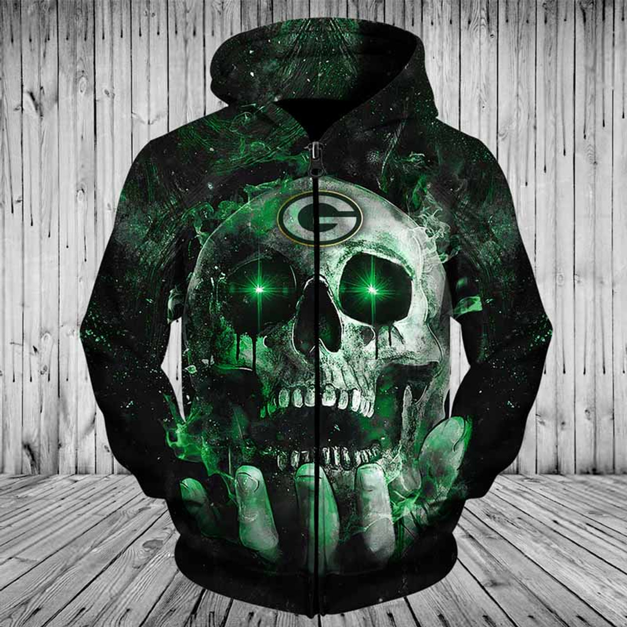 big sale 73582 b3044 **(OFFICIAL-N.F.L.GREEN-BAY-PACKERS-TEAM-ZIPPERED-NEON-SKULL-HOODIES/CUSTOM-3D-NEON-GRAPHIC-PRINTED-DOUBLE-SIDED-ALL-OVER-OFFICIAL-PACKERS-LOGOS,IN-PA...