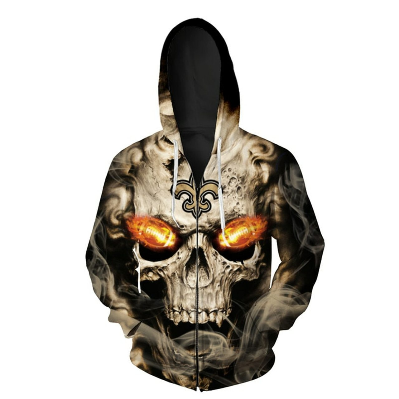 outlet store 44791 f6ff5 **(OFFICIAL-N.F.L.NEW-ORLEANS-SAINTS-LOGO-ZIPPERED-HOODIES/3D-NEON-SKULL &  NEW-ORLEANS-SAINTS-BLAZING-FOOTBALL,ON-FIRE-IN-SKULLS-EYES,PREMIUM-3D-CUSTO...