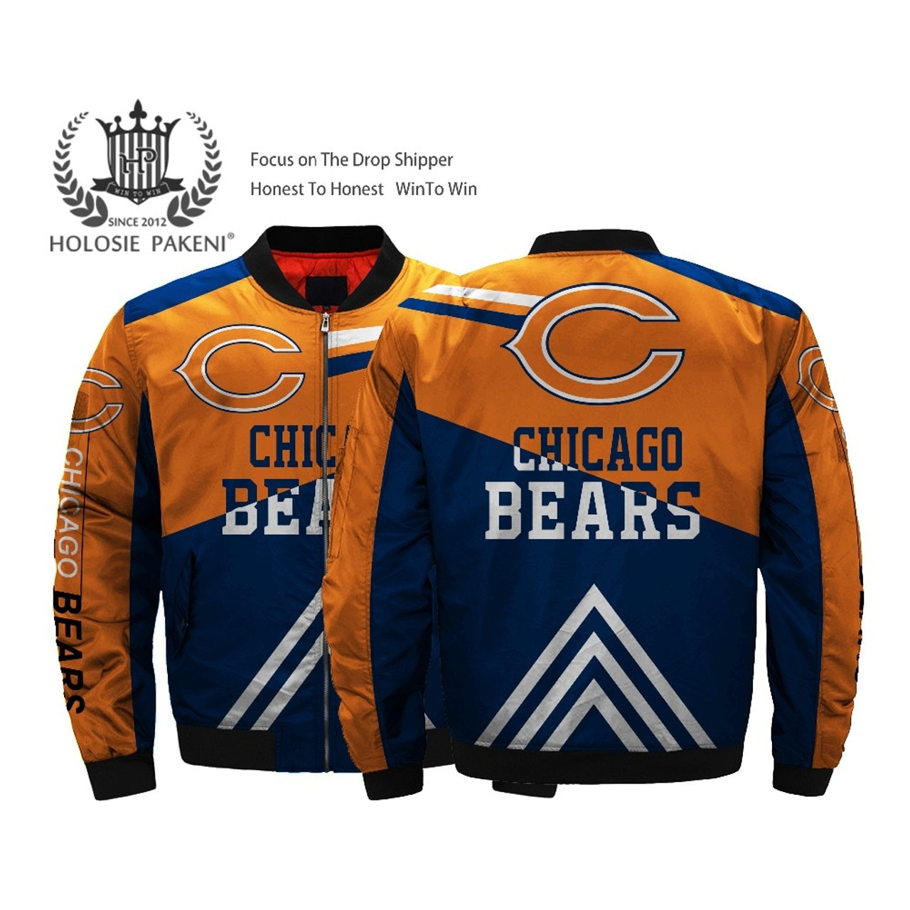 brand new 61168 93eb9 **(OFFICIALLY-LICENSED-N.F.L.CHICAGO-BEARS-JACKETS/CLASSIC-BEARS-TEAM-COLORS  & OFFICIAL-BEARS-LOGOS,BOMBER/MA-1 ...