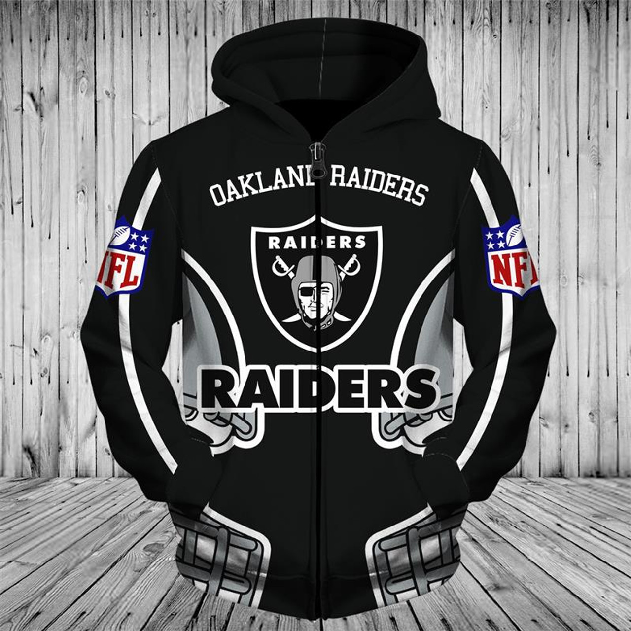 on sale 6e870 57199 **(OFFICIALLY-LICENSED-N.F.L.OAKLAND-RAIDERS-TEAM-ZIPPERED-HOODIES/NICE-CUSTOM-3D-GRAPHIC-PRINTED-DOUBLE-SIDED-ALL-OVER-OFFICIAL-RAIDERS-LOGOS  & ...