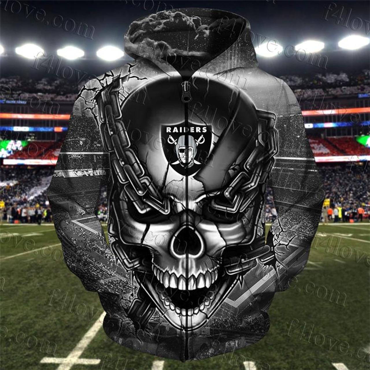Official N F L Oakland Raiders Team Football Zippered Hoodies