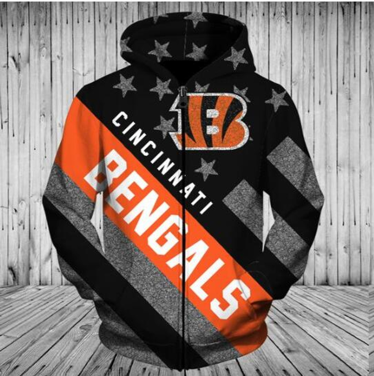 **(OFFICIALLY-LICENSED-N.F.L.CINCINNATI-BENGALS-ZIPPERED-HOODIES/ALL-OVER-3D-GRAPHIC-PRINTED-IN-BENGALS-LOGOS & OFFICIAL-BENGALS-TEAM-COLORS & PATRIOT-FLAG/WARM-PREMIUM-FRONT-ZIPPERED-DEEP-POCKETED-OFFICIAL-N.F.L.BENGALS-TEAM-HOODIES)**