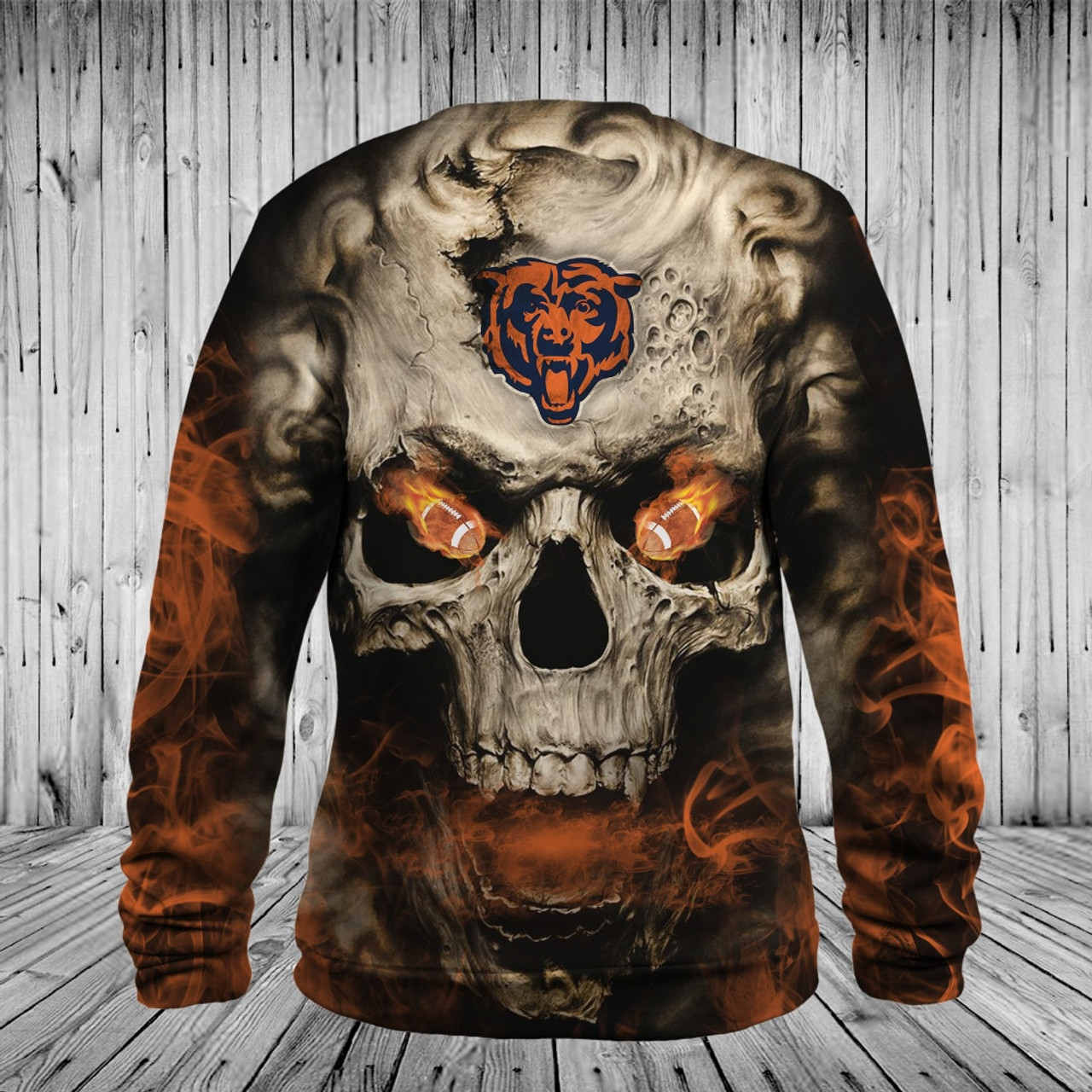 **(OFFICIAL-N.F.L.CHICAGO-BEARS-LOGO-LONG-SLEEVE-TEES/3D-NEON-SMOKING-SKULL & CHICAGO-BEARS-BLAZING-FOOTBALL/ON-FIRE-IN-SKULLS-EYES,PREMIUM-3D-CUSTOM-GRAPHIC-PRINTED/DOUBLE-SIDED-N.F.L.BEARS-TEAM-COLORED,WARM-LONG-SLEEVE-TRENDY-GAME-TEES)**