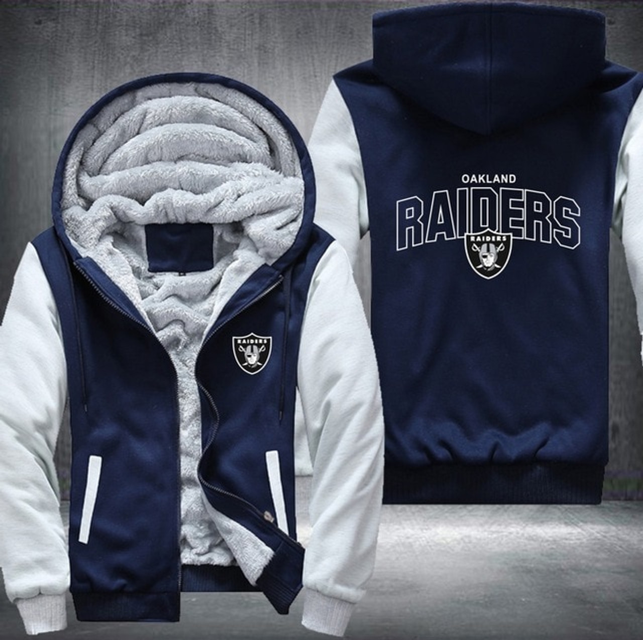 finest selection d33c2 f95e2 **(NEW-OFFICIALLY-LICENSED-N.F.L.  OAKLAND-RAIDERS/TRENDY-NEW-TWO-TONE-STYLE,SOFT-FLEECE-LINED-TEAM-JACKETS/3-D-CUSTOM-DETAILED-GRAPHIC-PRINTED-DOUBLE-...