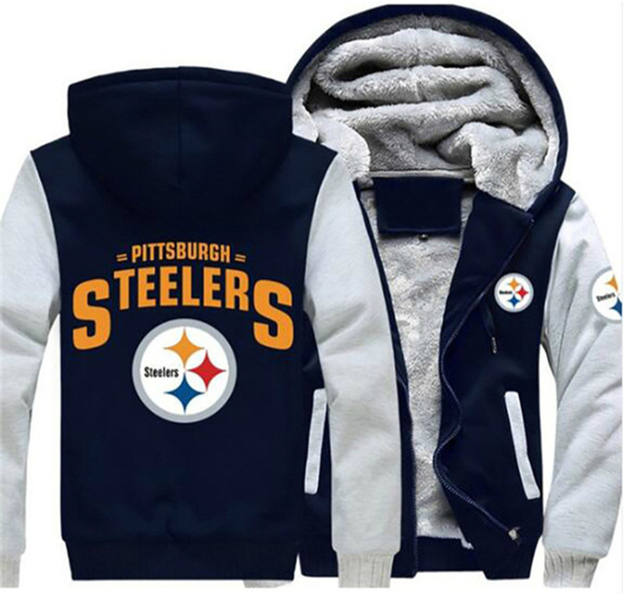 new style 63929 73f94 **(OFFICIAL-N.F.L.PITTSBURGH-STEELERS/TRENDY-NEW-TWO-TONE-STYLE,SOFT-FLEECE-LINED-TEAM-JACKETS/3-D-CUSTOM-DETAILED-GRAPHIC-PRINTED-DOUBLE-SIDED-OFFICI...
