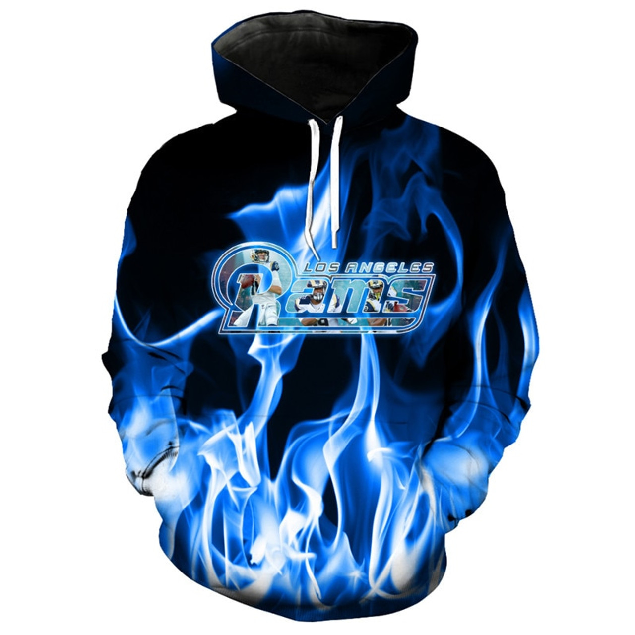 **(NEW-OFFICIALLY-LICENSED-N.F.L.LOS-ANGELES-RAMS,OFFICIAL-TEAM-HOODIES/NEW-CUSTOM-DETAILED-3D-GRAPHIC-PRINTED/PREMIUM-ALL-OVER-DOUBLE-SIDED-GRAPHICS/OFFICIAL-RAMS-TEAM-COLORS & CLASSIC-RAMS-LOGOS/JARED-GOFF-NO.16-PULLOVER-FIERY-TEAM-HOODIES)**