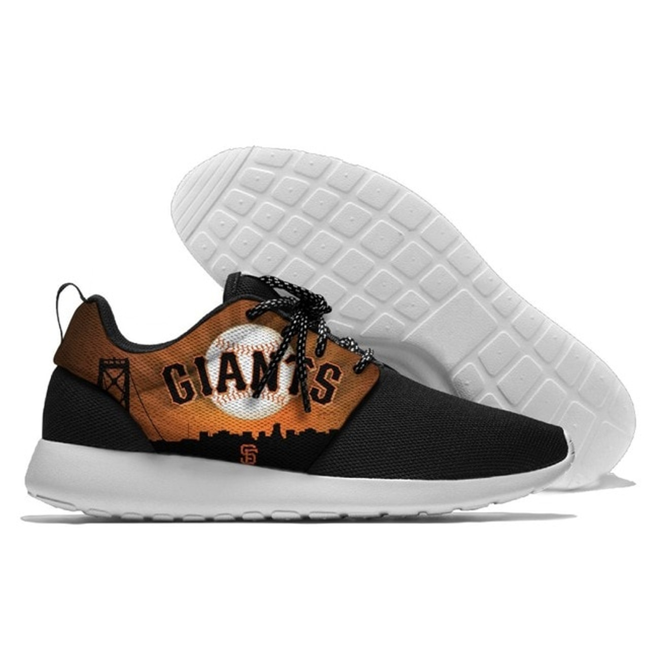 **(NEW-OFFICIALLY-LICENSED-M.L.B.SAN-FRANCISCO-GIANTS-RUNNING-SHOES,MENS-OR-WOMENS-ROSHE-STYLE,LIGHT-WEIGHT-SPORT-PREMIUM-RUNNING-SHOES/WITH-OFFICIAL-GIANTS-TEAM-COLORS & GIANTS-TEAM-LOGOS,SPECIAL-CUSHIONED-COMFORT-INSOLES/COMES-IN-ALL-SIZES:)**
