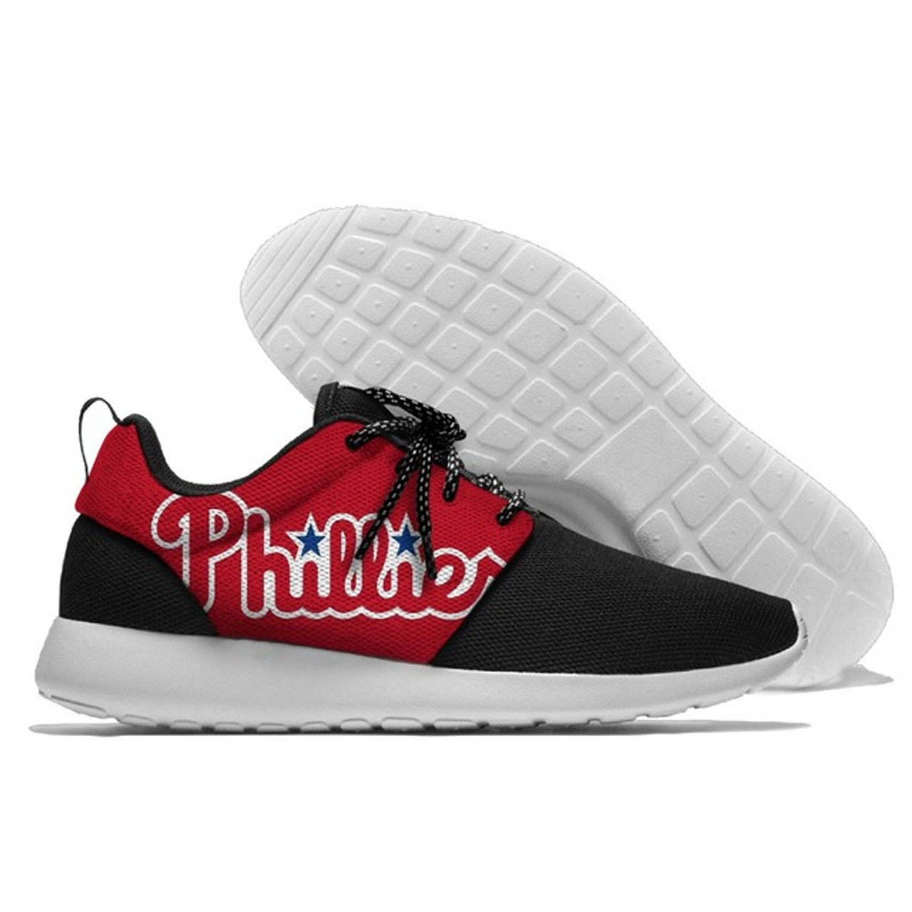 **(OFFICIAL-LICENSED-M.L.B.SAN-PHILADELPHIA-PHILLIES-RUNNING-SHOES,MENS-OR-WOMENS-ROSHE-STYLE,LIGHT-WEIGHT-SPORT-PREMIUM-RUNNING-SHOES/WITH-OFFICIAL-PHILLIES-TEAM-COLORS & PHILLIES-TEAM-LOGOS,SPECIAL-CUSHIONED-COMFORT-INSOLES/COMES-IN-ALL-SIZES)**