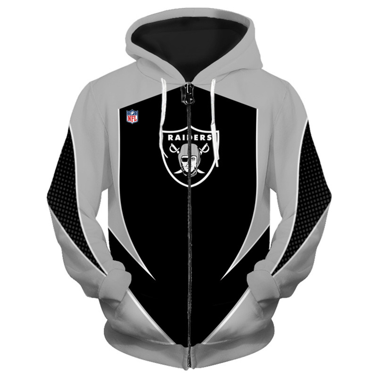 12cf959b08b **(OFFICIALLY-LICENSED-N.F.L.OAKLAND-RAIDERS-TEAM-ZIPPERED-HOODIES/NEW-CUSTOM-3D-GRAPHIC-PRINTED-DOUBLE-SIDED-DESIGNED/ALL-OVER-OFFICIAL-RAIDERS-LOGOS  ...