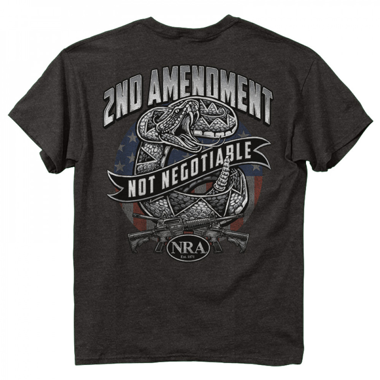 (NRA - 2nd Snake)  •Heavyweight 6oz. 100% Preshrunk-cotton-tees.. •Short set-in sleeves and a two needle hem around the sleeves and bottom •Comfort cut for maximum maneuverability •Double stitched seamless collar, taped neck and Shoulders •High Quality screen printed artwork that will withstand hundreds of washes