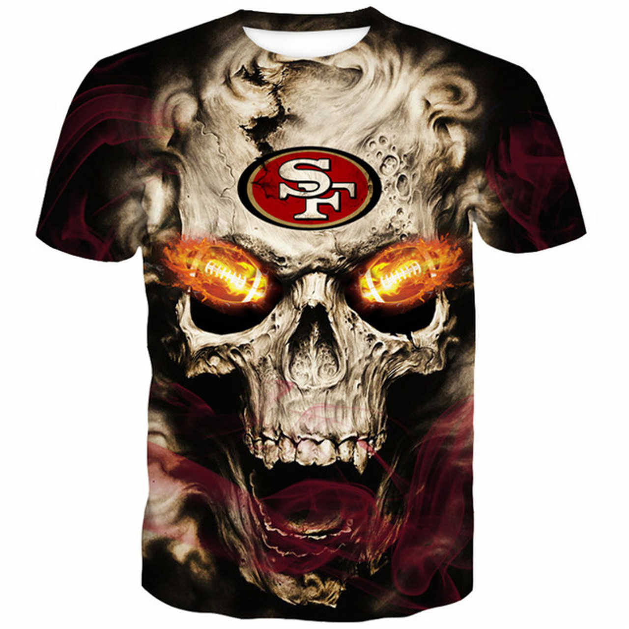 1a7c10f0 **(OFFICIALLY-LICENSED-N.F.L.SAN-FRANCISCO-49ERS-TRENDY-TEES &  NEON-3D-GLOWING-FIERY-49ERS-FOOTBALL-EYES/CUSTOM-3D-EFFECT-GRAPHIC-PRINTED-ALL-OVER-DOU...