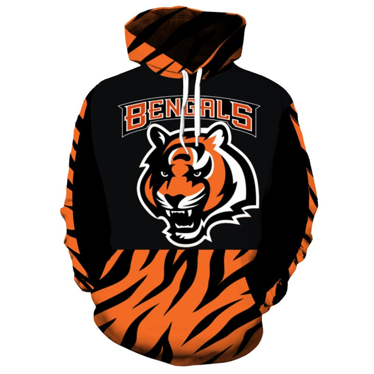 **(OFFICIALLY-LICENSED-N.F.L.CINCINNATI-BENGALS-TRENDY-PULLOVER-TEAM-HOODIES/NICE-CUSTOM-3D-EFFECT-GRAPHIC-PRINTED-DOUBLE-SIDED-ALL-OVER-OFFICIAL-BENGALS-LOGOS & IN-OFFICIAL-BENGALS-TEAM-COLORS/WARM-PREMIUM-OFFICIAL-TEAM-PULLOVER-POCKET-HOODIES)**