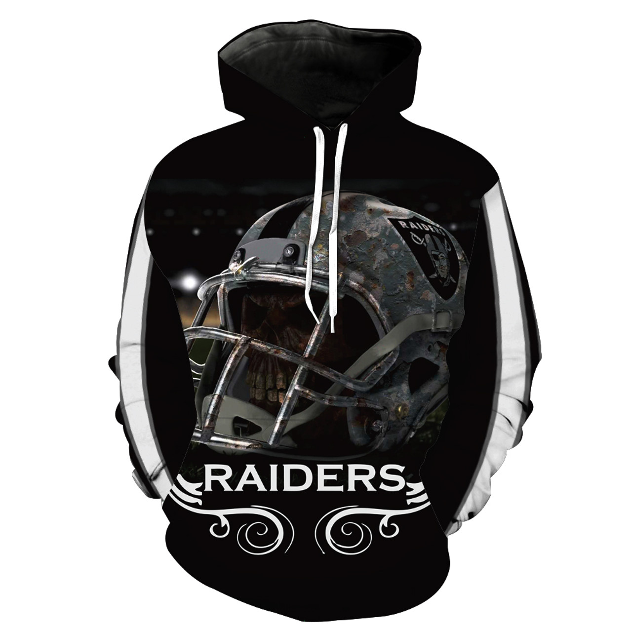 Officially Licensed N F L Oakland Raiders Trendy Pullover Team Hoodies Nice Custom 3d Effect Graphic Printed Double Sided All Over Official Raiders Logos Official Classic Raiders Team Colors Warm Premium Official Team Pullover Hoodies