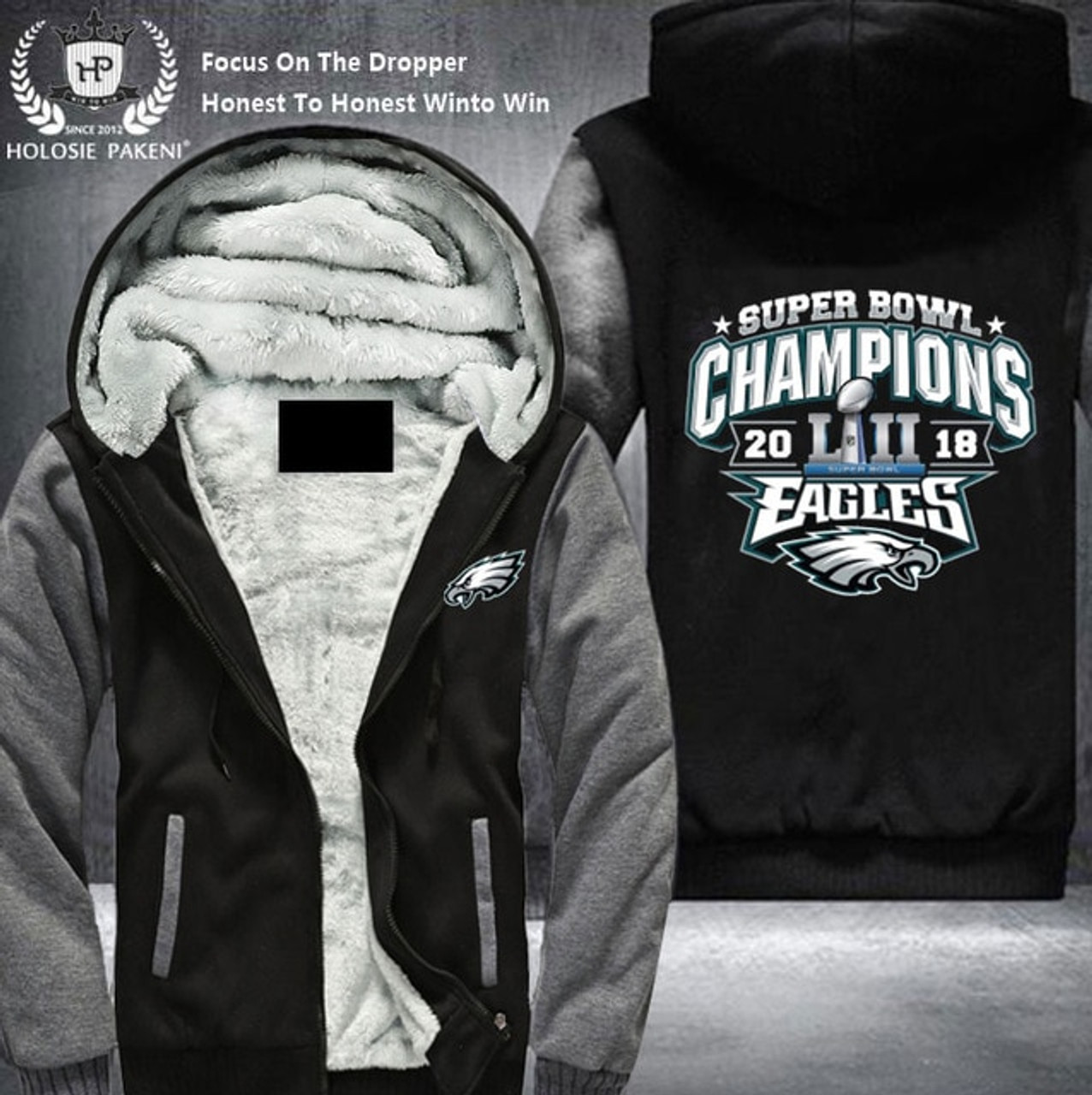 new arrivals 916dd a938c **(OFFICIALLY-LICENSED-N.F.L.PHILADELPHIA-EAGLES/SUPER-BOWL-LII-CHAMPIONS-FLEECE-ZIPPERED-HOODIES  & OFFICIAL-SUPER-BOWL-TEAM-LOGOS/NICE-CUSTOM-3D-GRAP...
